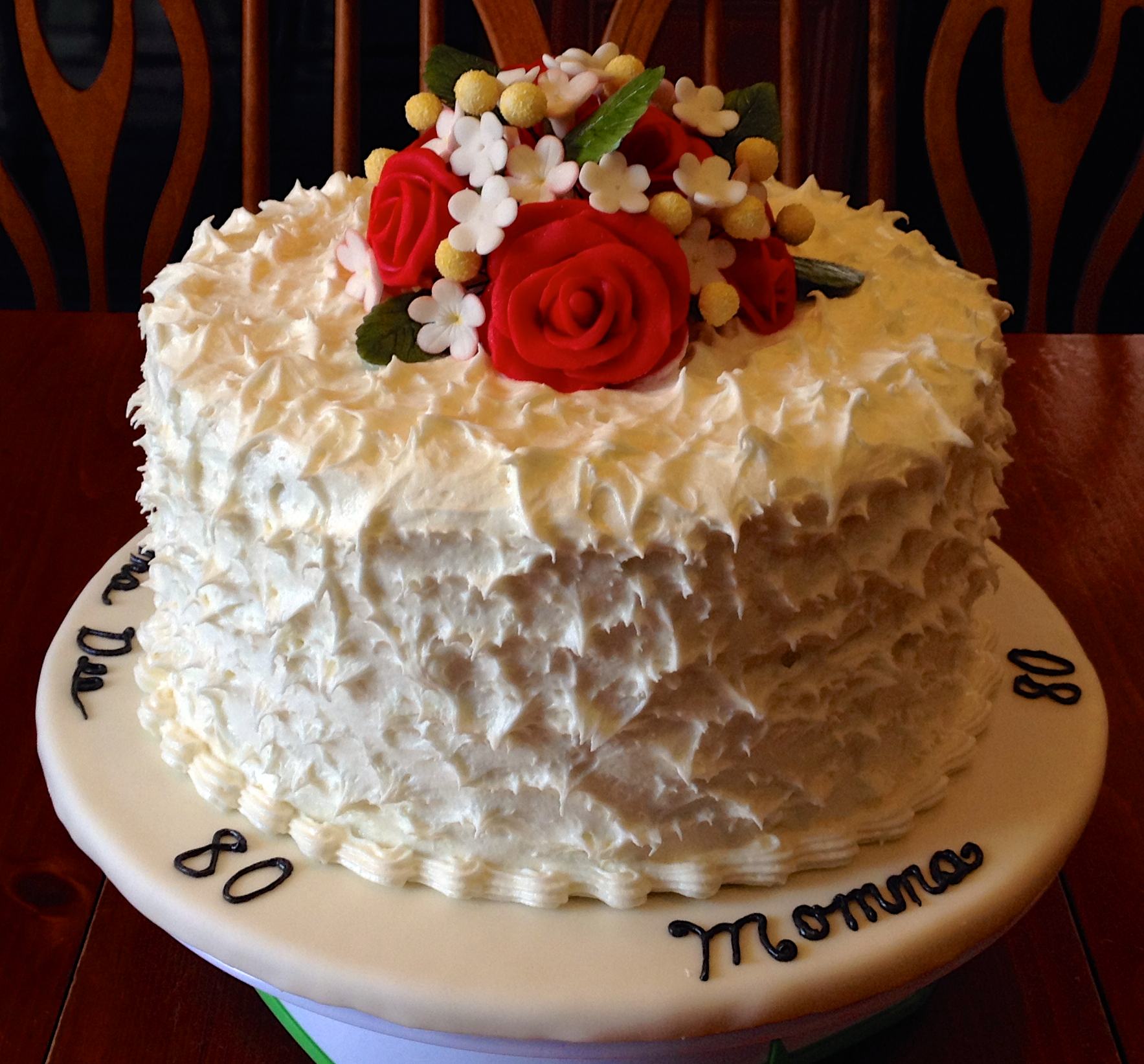 80th Birthday Cake with Gumpaste Flowers ArtsyOnDemand